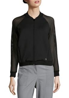 Body Language Mesh Long-Sleeve Bomber Jacket