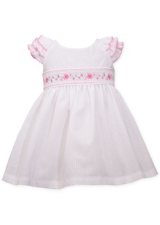 Bonnie Baby Baby Girls Embroidered Check Dress