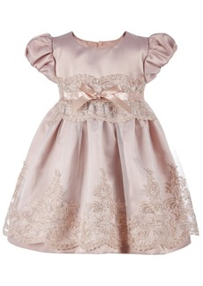 Bonnie Baby Baby Girls Embroidered Tulle Satin Dress