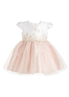 Bonnie Baby Baby Girls Ivory & Blush Embroidered Mesh Dress