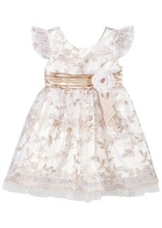Bonnie Baby Baby Girls Ivory & Gold Floral Embroidered Dress