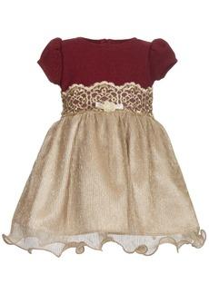 Bonnie Baby Baby Girls Knit-Bodice Metallic Dress