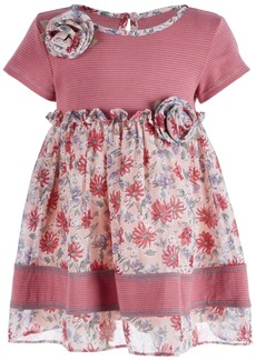 Bonnie Baby Baby Girls Rose Striped Floral Dress
