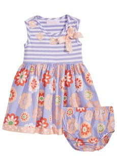 Bonnie Baby Baby Girls Striped & Floral-Print Dress