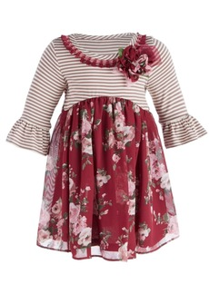 Bonnie Baby Baby Girls Striped Floral Dress
