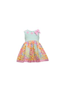 Bonnie Baby Baby Girls Striped Floral-Print Dress
