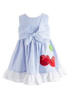 Bonnie Baby Baby Girls Striped Seersucker Tie-Front Dress