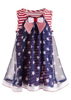 Bonnie Baby Baby Girls Striped Star-Overlay Dress
