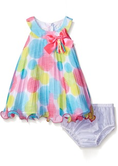 Bonnie Baby Crystal Pleated Trapeze Dress and Panty Set