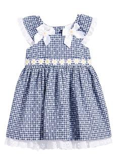 Bonnie Baby Floral-Print Gingham Dress, Baby Girls