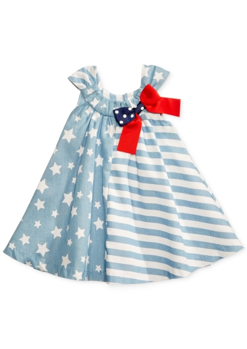 51fca6d5a Bonnie Baby Mixed-Print Chambray Trapeze Dress, Baby Girls (0-24 months