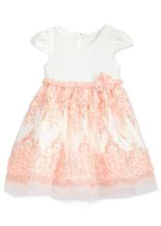 Bonnie Baby Textured Embroidered Bonaz Dress, Baby Girls