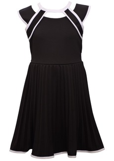 Bonnie Jean Big Girls Short Sleeve Scuba Crepe Skater with Pleated Skirt