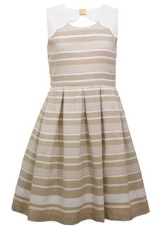 Bonnie Jean Big Girls Sleeveless Border Striped Dress with Scalloped Yoke
