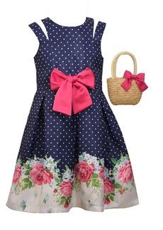 Bonnie Jean Big Girls Sleeveless Shantung Floral Border Print Dress with Straw Handbag