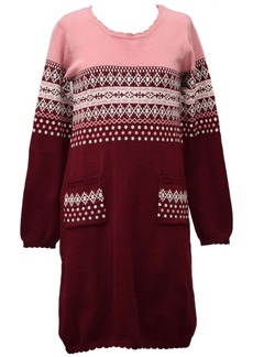 Bonnie Jean Big Girl Long Sleeved Intarsia Sweater Knit Dress With Pockets