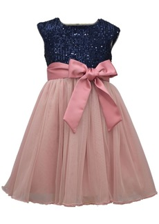 Bonnie Jean Big Girl Cap Sleeve Navy Sequin Bodie To Mesh Ballerina Skirt With Satin Band And Bow