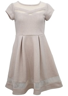 Bonnie Jean Big Girl Short Sleeve Textured Knit Skater With Mesh Illusion Neckline And Bottom Band