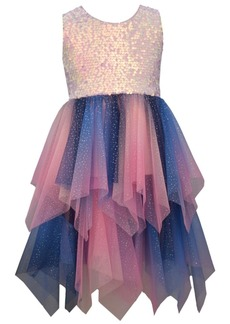 Bonnie Jean Big Girl Sleeveless Pink/Multi Sequin To Ombre Mesh Hanky Hem Party Dress