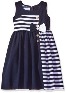 Bonnie Jean Big Girls Sleeveless Waistline Nautical Dress Navy