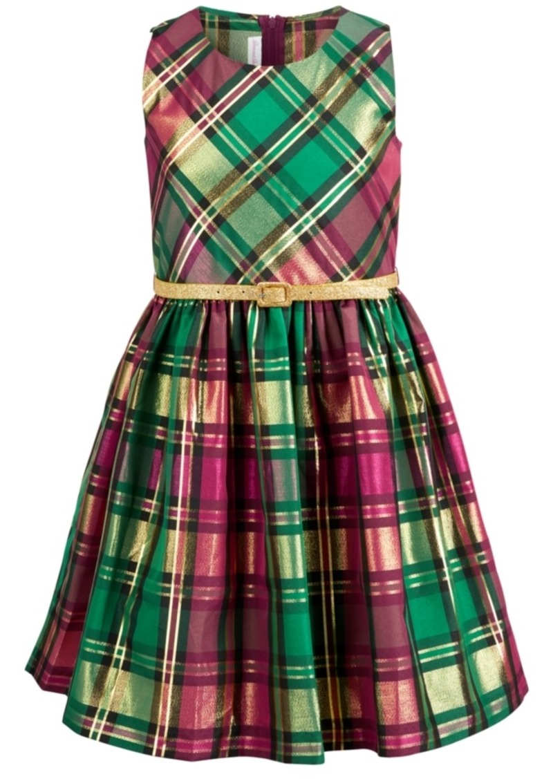 Bonnie Jean Big Girls Belted Plaid Taffeta Dress