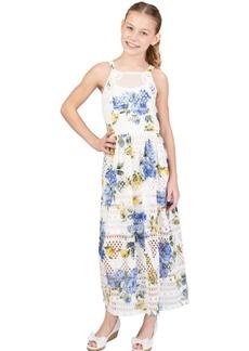 Bonnie Jean Big Girls Printed Floral Knit Crochet Lace Maxi Dress