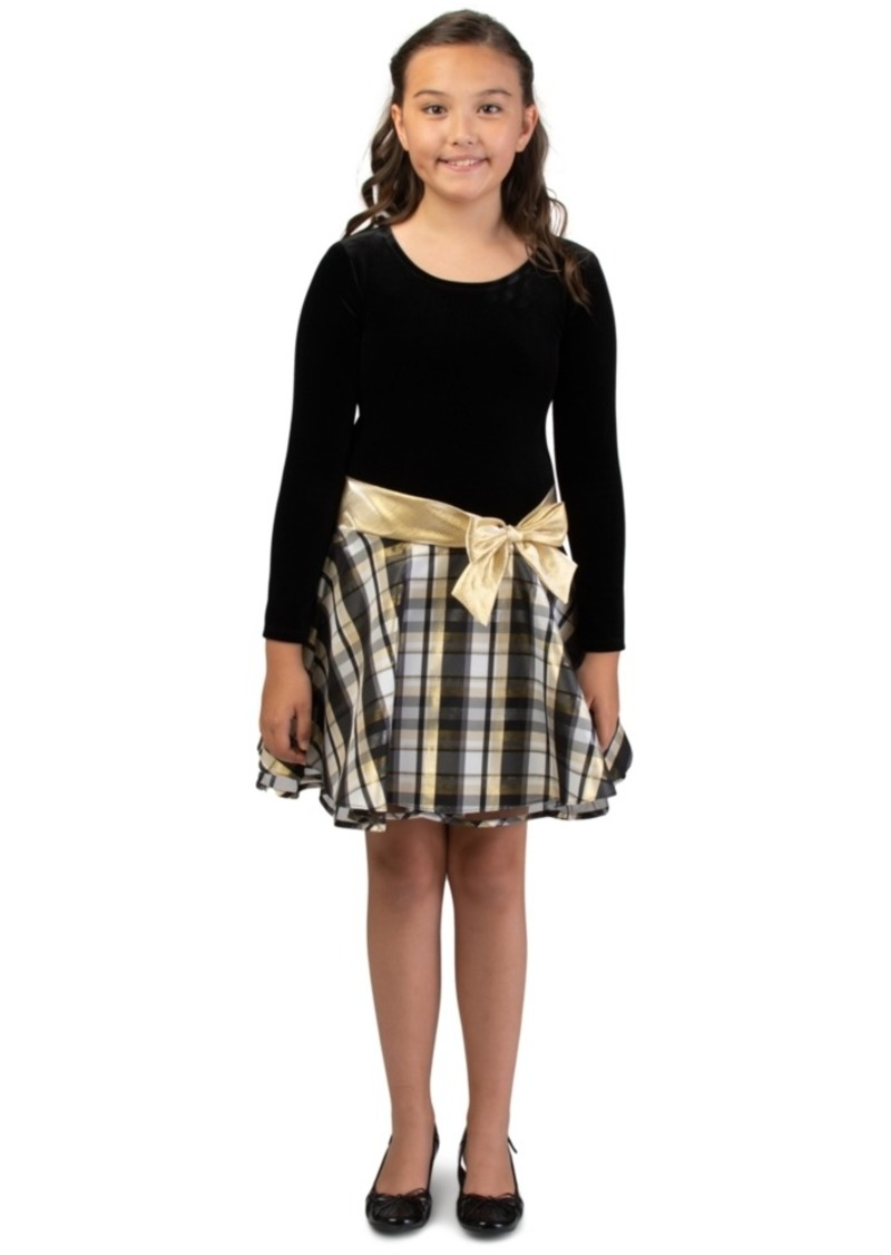 Bonnie Jean Big Girls Drop Waist Metallic Plaid Dress