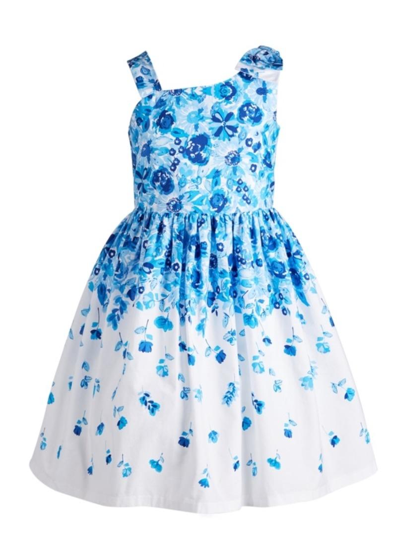 Bonnie Jean Big Girls Floral-Print Bow Shoulder Dress