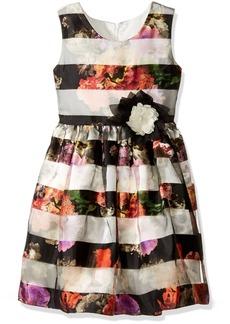 Bonnie Jean Big Girls' Floral Shadow Stripe Party Dress