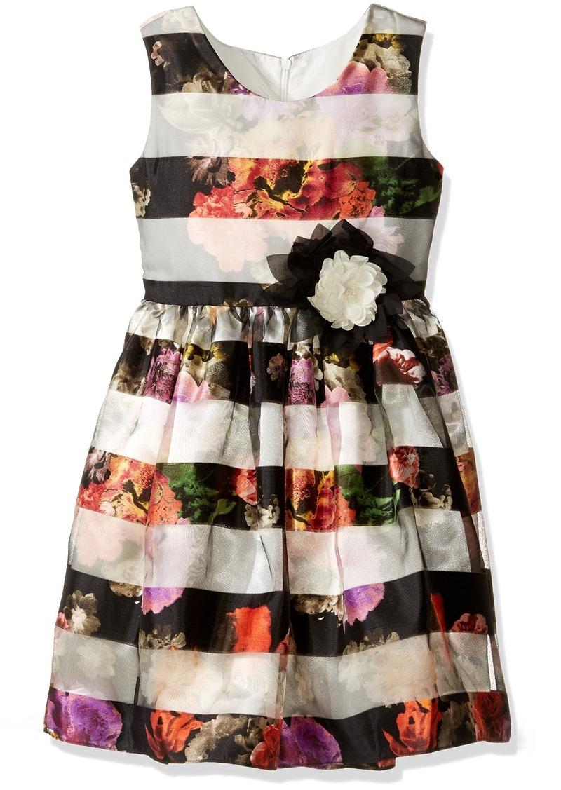 Bonnie Jean Big Girls' Floral Satin Sheer