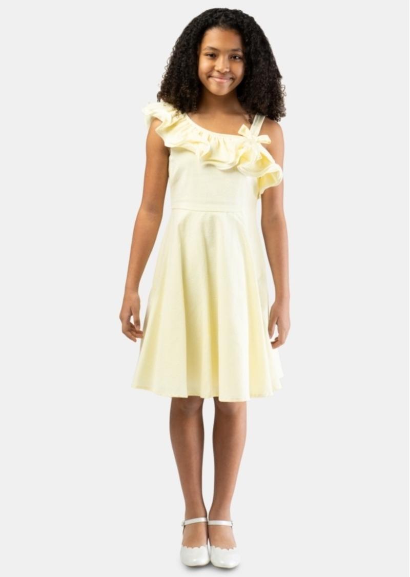Bonnie Jean Big Girls One-Shoulder Seersucker Striped Dress