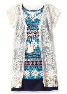 Bonnie Jean  Big Girls' Printed Scuba Shift Dress with Lace Fringed Vest