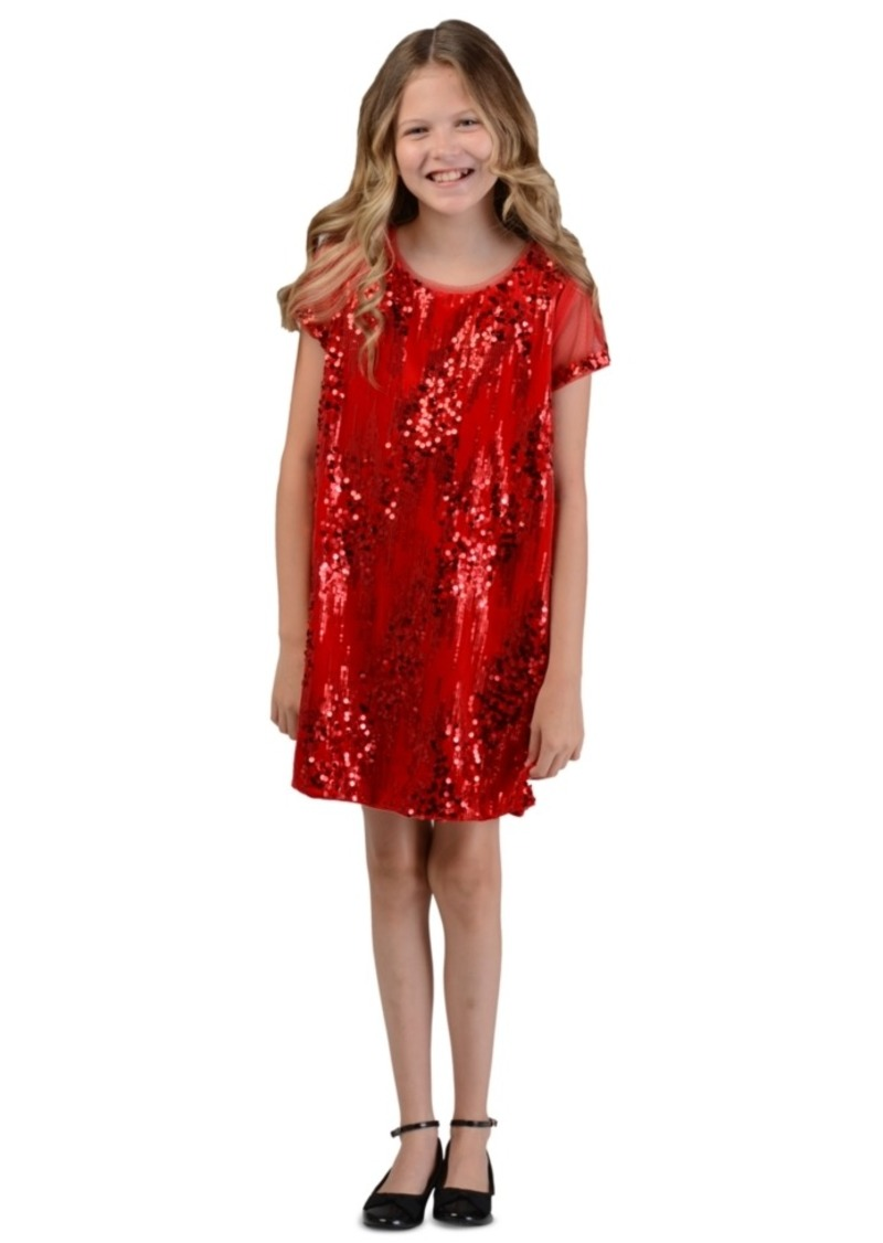 Bonnie Jean Big Girls Sequined Velvet Shift Dress