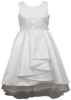 Bonnie Jean Big Girls Sleeveless Matte Satin Pleated Front Aline Dress