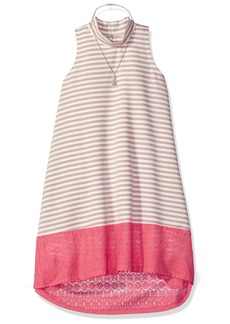 Bonnie Jean Big Girls' Sleeveless Mock Neck Aline Dress With Necklace