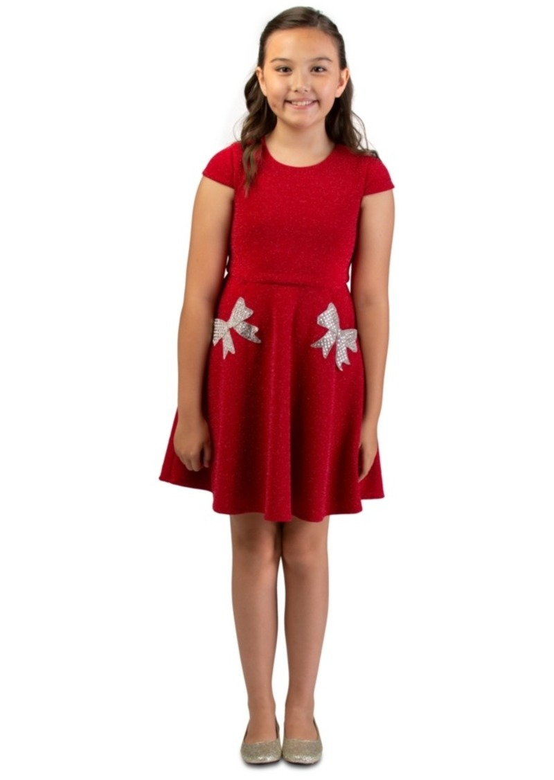 Bonnie Jean Big Girls Sparkle Knit Skater Dress With Rhinestone Bow Pockets