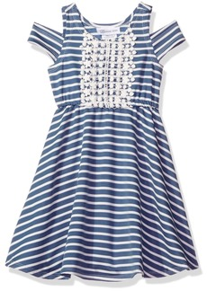 Bonnie Jean Big Girls' Stripe Knit Cold Shoulder Skater Dress