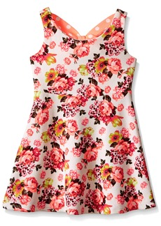 Bonnie Jean Big Girls' Textured Knit Floral Aline Dress
