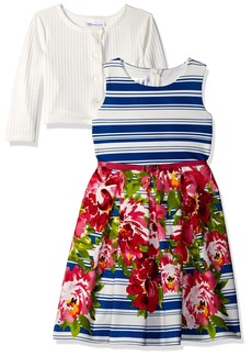Bonnie Jean Big Girls' Little Two Piece Dress and Cardigan Set