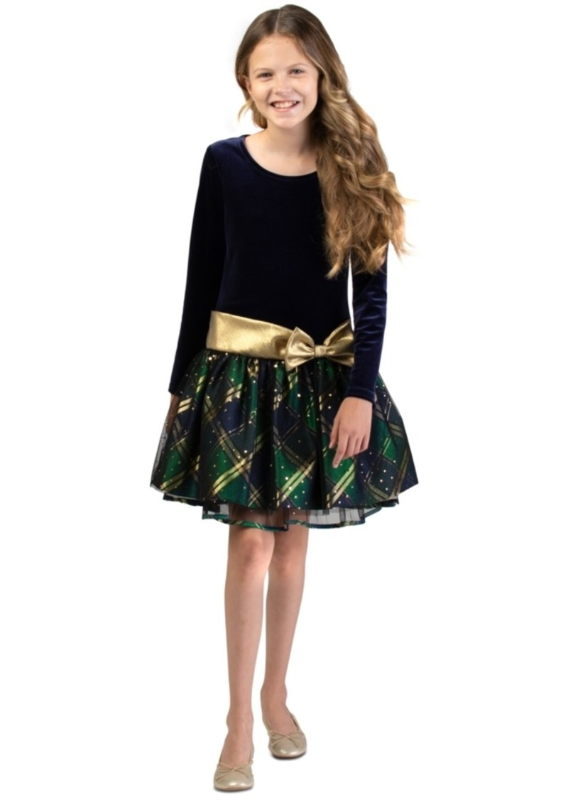 Bonnie Jean Big Girls Velvet Plaid Dress