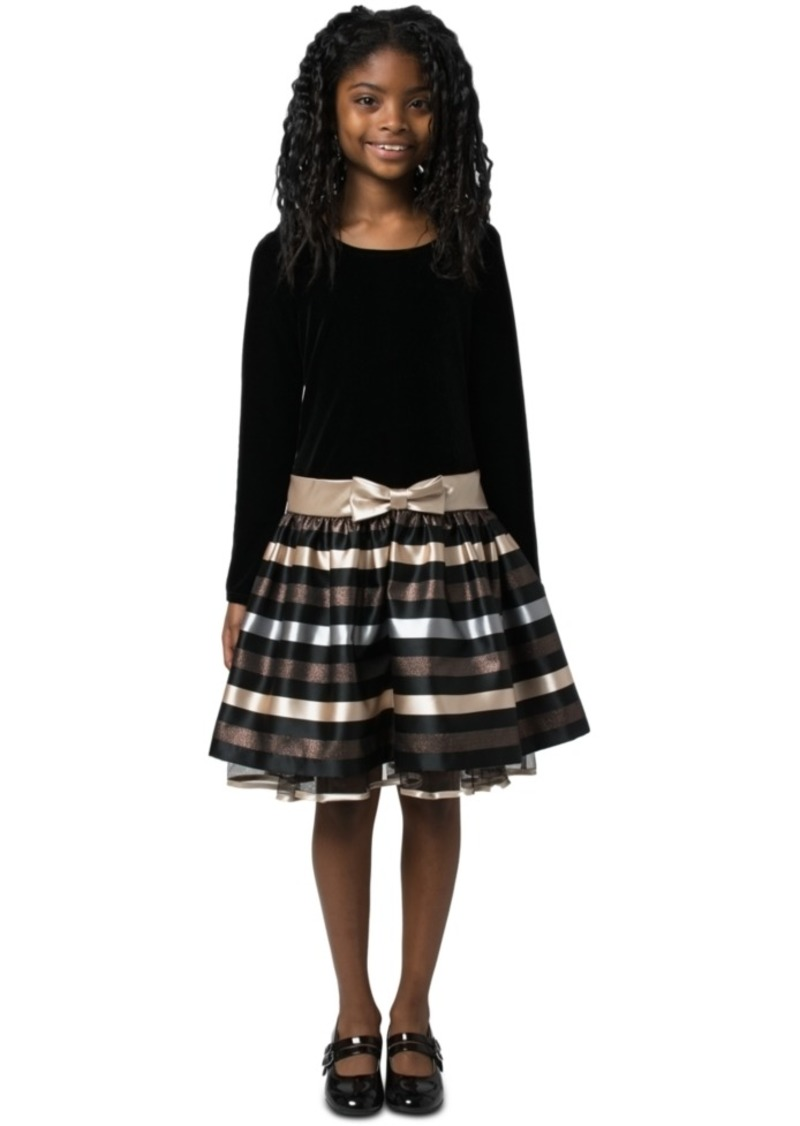 Bonnie Jean Big Girls Velvet Striped Dress