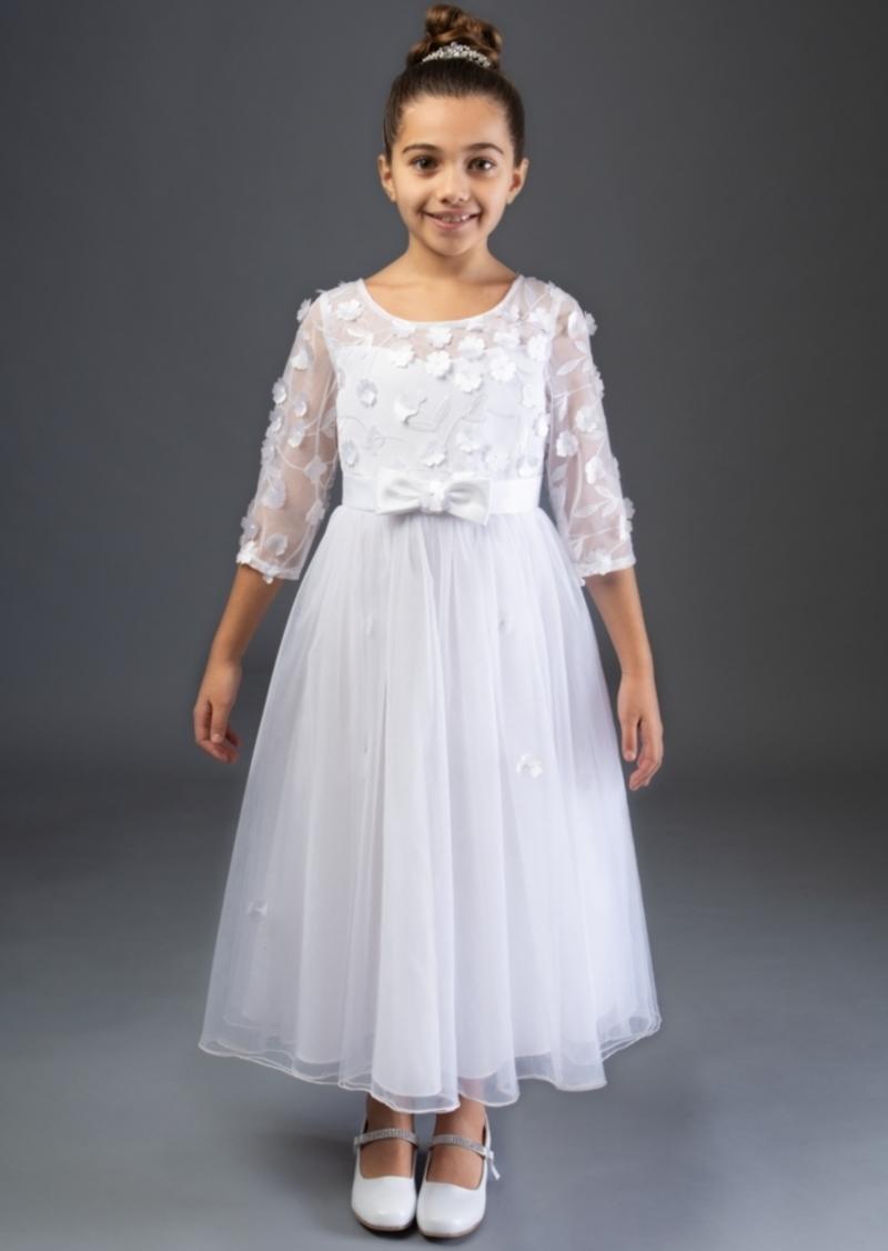 Bonnie Jean Embroidered Daisy Illusion Communion Dress