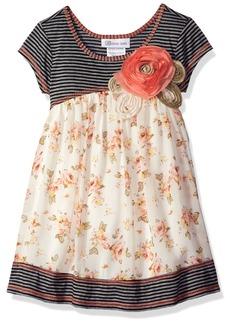 Bonnie Jean Little Girls' Knit to Challis Print Dress