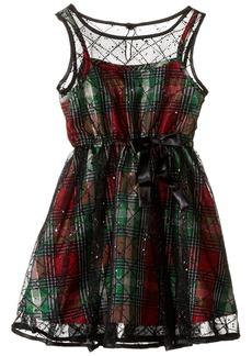 Bonnie Jean Girls Sleeveless Glitter Overlay Plaid Party Dress