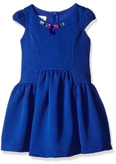 Bonnie Jean Little Girls' Textured Jacquard Knit Paneled Princess Seam Dress