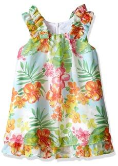 Bonnie Jean Little Girls' Tropical Floral Print Chiffon Float Dress