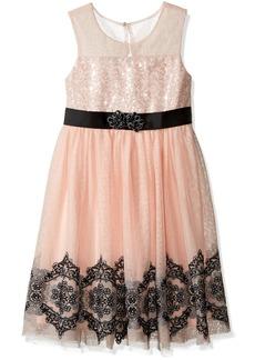 Bonnie Jean Girls' Sequin Tulle Mesh Illusion Dress