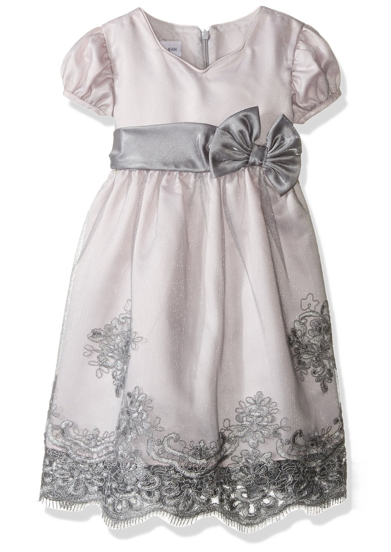 Bonnie Jean Little Girls' Toddler Tulle Border Organza Grey