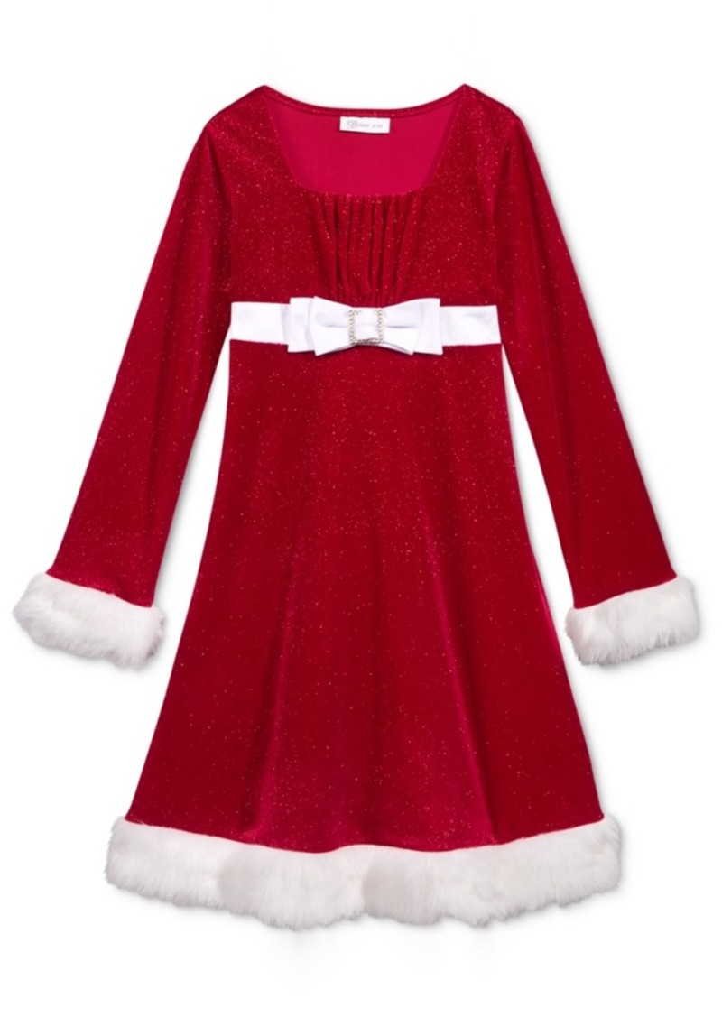 Bonnie Jean Bonnie Jean Faux-Fur Trim Holiday Dress Toddler ...