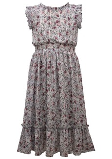 Bonnie Jean Little Girl Flutter Sleeved Lurex Chiffon Smocked Waist Midi Length Dress With Deep Flounce